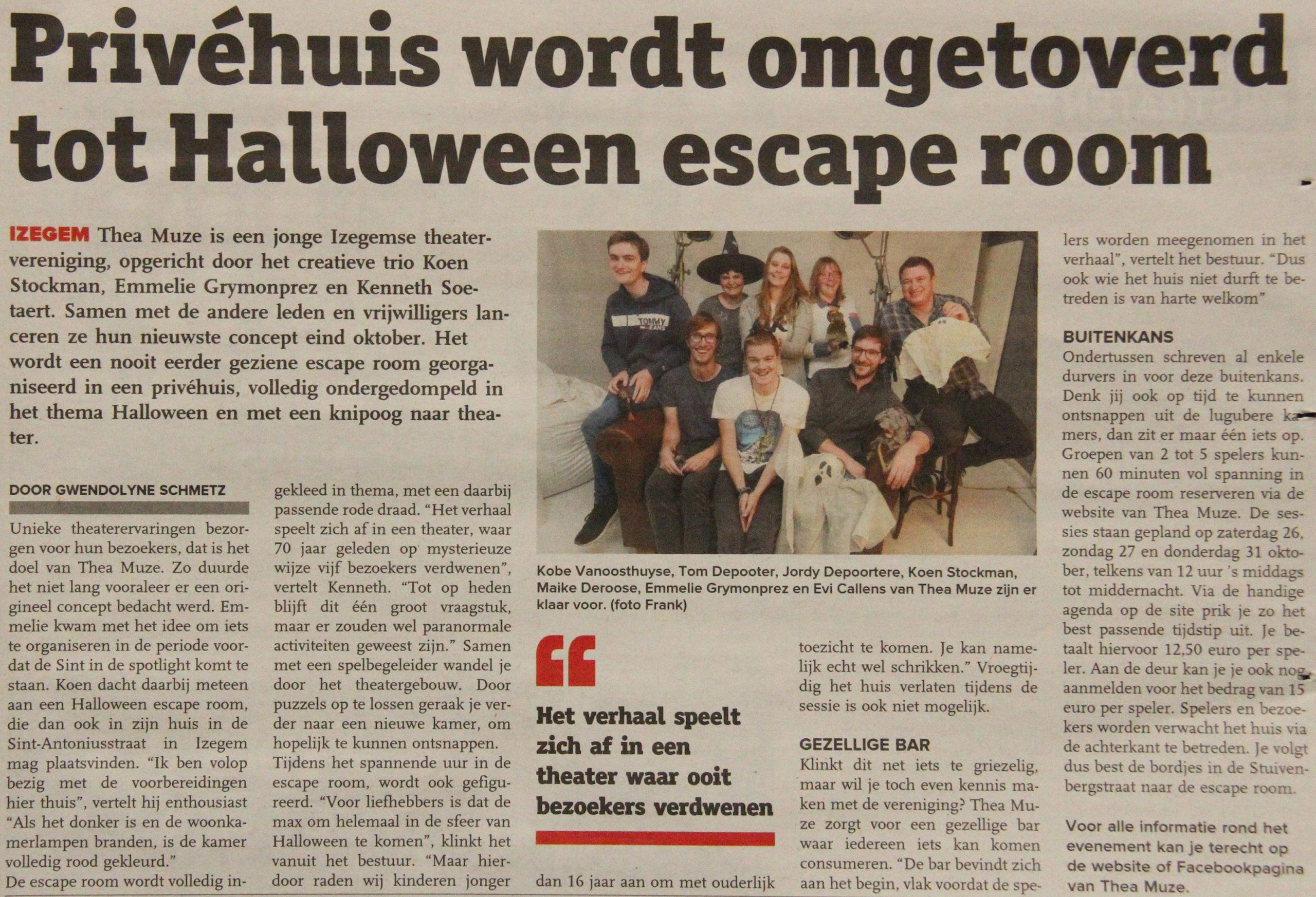 Thea Muze tovert privéhuis om tot Halloween escape room - KW Izegem