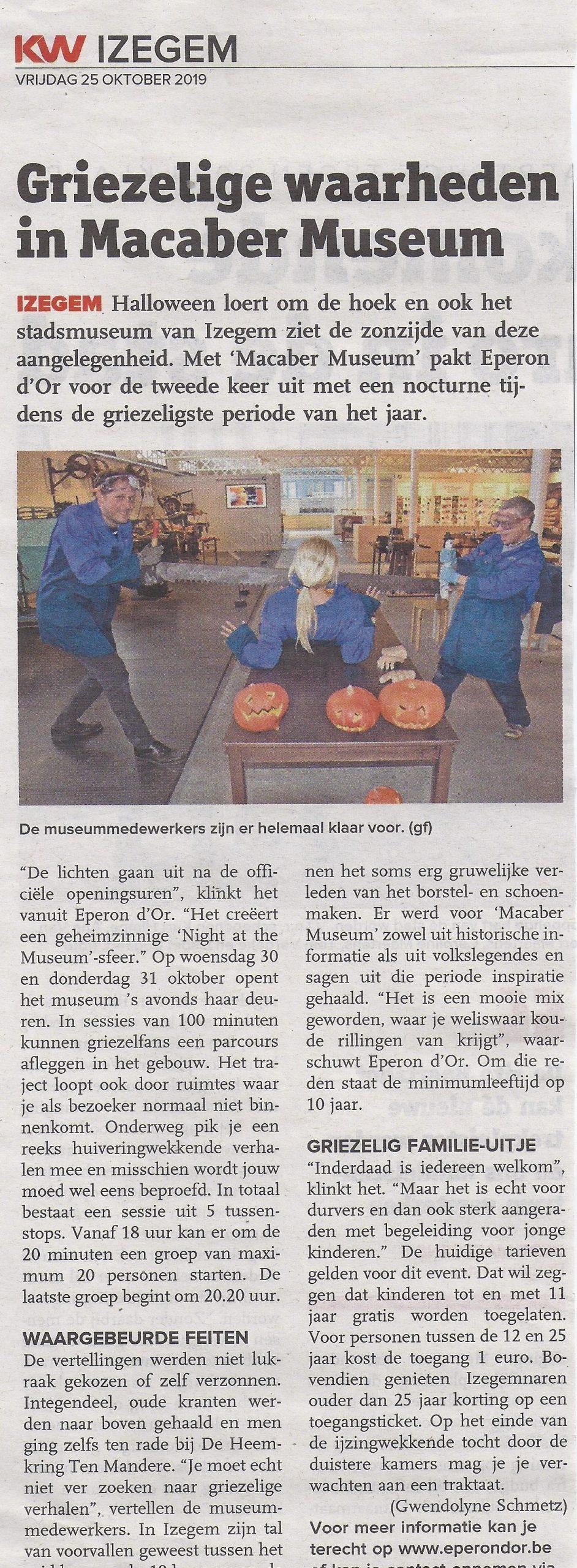 Macaber museum in Eperon D'or - Halloween special in het museum - 2019 KW Izegem