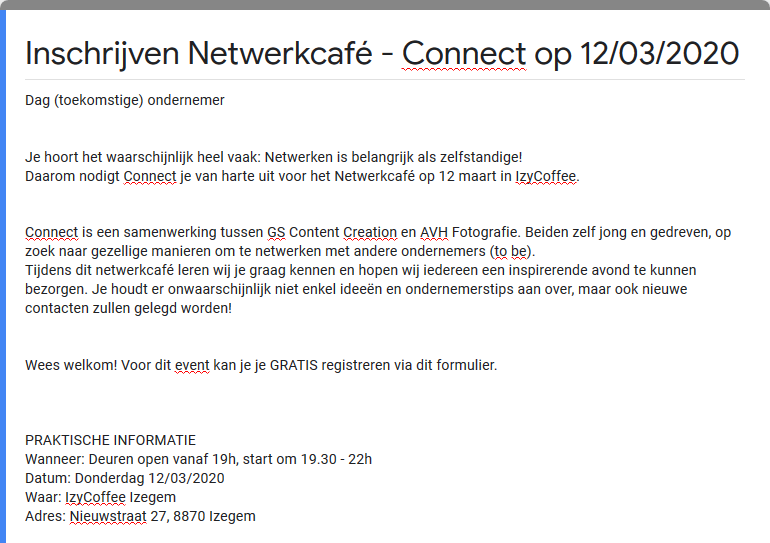 Inschrijven Netwerkcafé - Connect op 12 03 2020