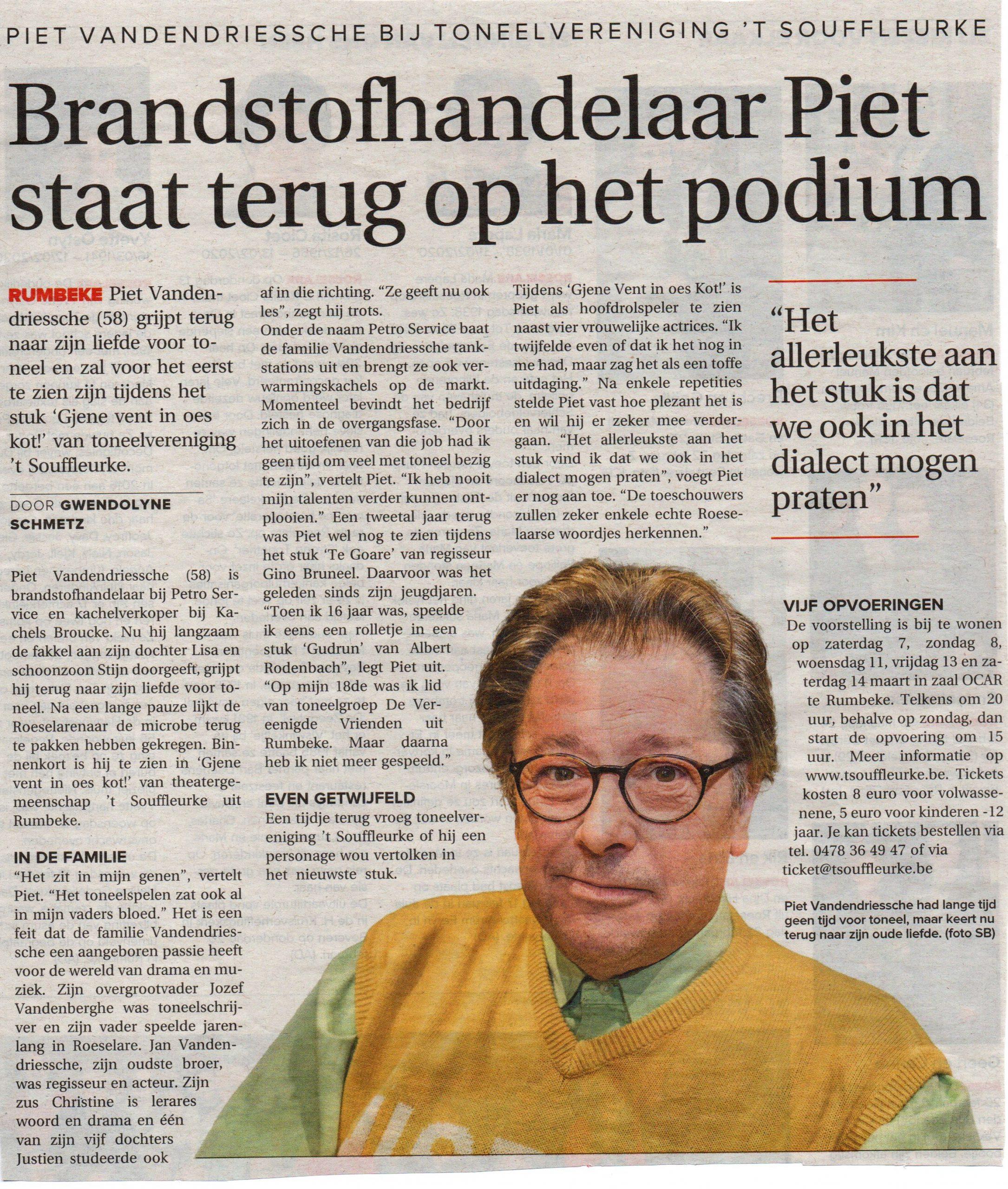 't Souffleurke  - Brandstofhandelaar Piet op de planken - KW Roeselare 2020